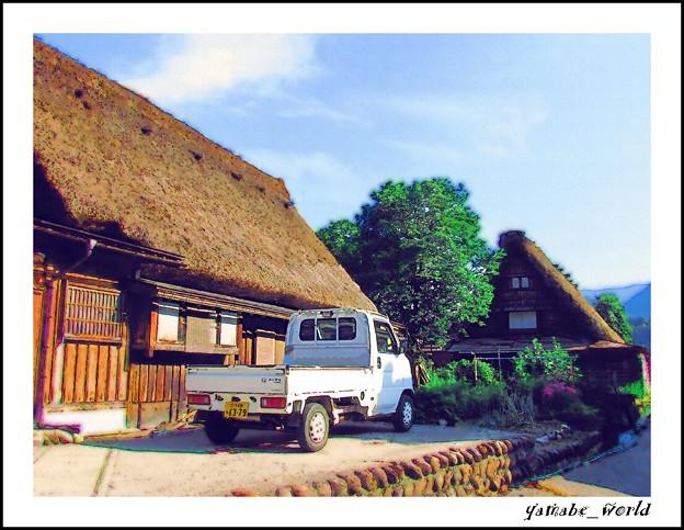 Photos: 軽トラのある風景 ~合掌造りの里から~