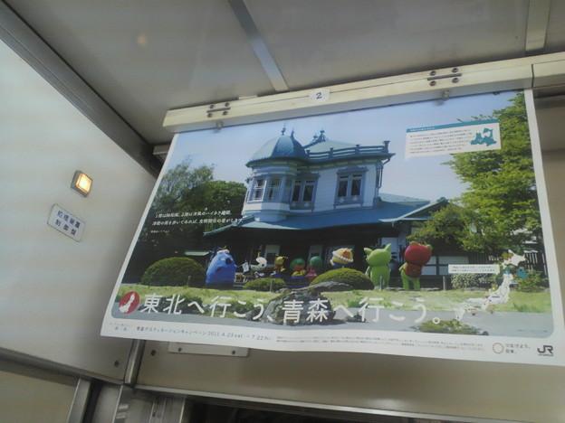 Photos: 電車の車内吊り広告になんかいた。せんとくん、そこでなにやっている...