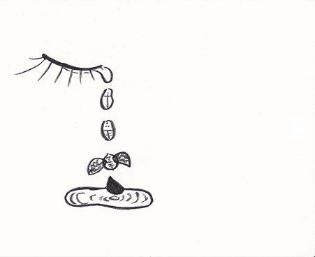 涙がテントウ虫になって飛んでゆく イラスト