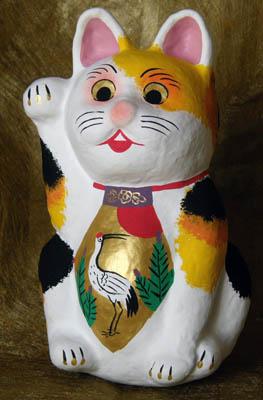 花札柄腹掛け招き猫-4