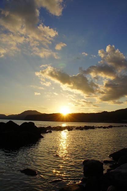 黄金色の夕日