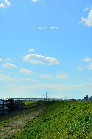 雲かげ流るる河川敷