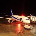 写真: ボーイング787・夜の松山空港にて